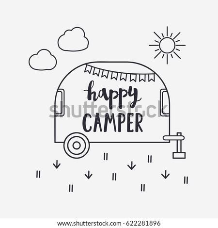 Vector Illustration Happy CAMPER Lettering With Travel Trailer Outdoor Logo Emblem