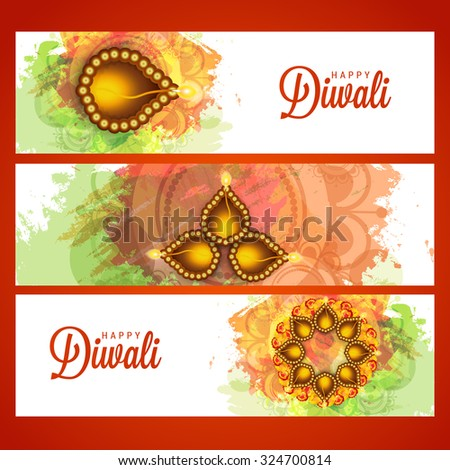 Vector illustration happy diwali stylish bright colorful set of headers or banner. - stock vector