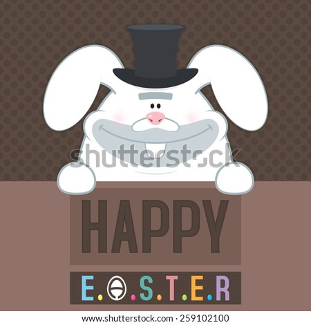 Vector illustration. Happy easter cards illustration with unusual thick white Easter bunny and fonts. Modern and creative colorful illustration for greeting cards, posters, banners and flyers. - stock vector