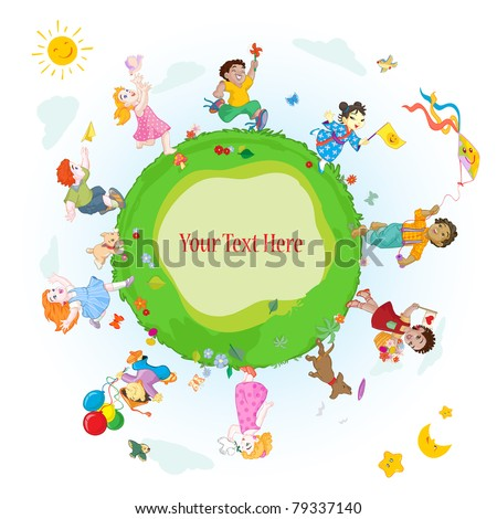Vector illustration, happy kids around the world, card concept. - stock vector