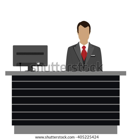Vector illustration happy male receptionist standing at hotel. Professional concierge at hotel reception desk - stock vector