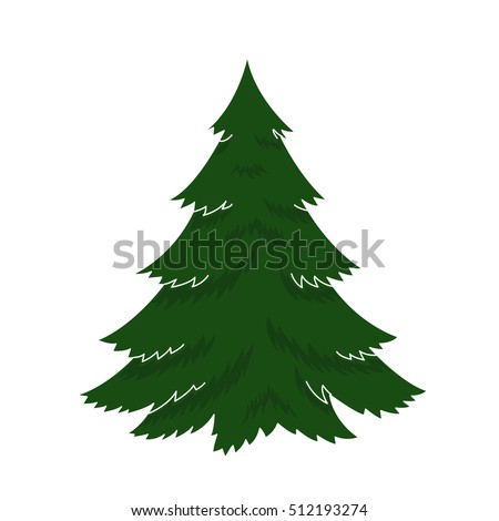 vector illustration happy new year Christmas Tree December holiday celebrations. Isolated object on a white background, green, winter merry xmas