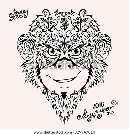 Vector illustration.Happy New year - handwritten lettering. Patterned a monkey head on white background. - stock vector