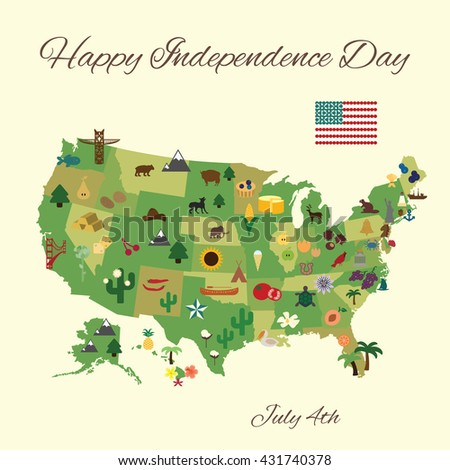 vector illustration / happy 4th of july greeting card / states symbols on the map of America - stock vector