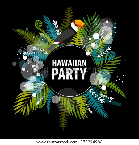 Vector illustration hawaiian party bright foliage stock vector vector illustration hawaiian party with bright foliage trees blue green black background stopboris Gallery