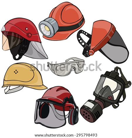 Vector illustration, head protection elements, cartoon concept, white background.