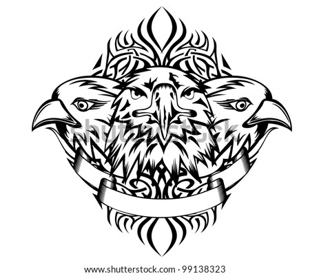 Vector illustration heads eagles and patterns