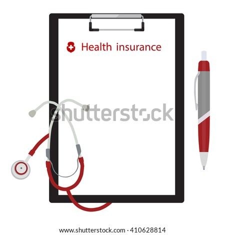 Vector illustration health, medical insurance concept design. Clipboard with document, ball pen and stethoscope. - stock vector