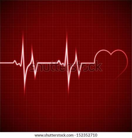 Vector Illustration heart rhythm ekg - stock vector
