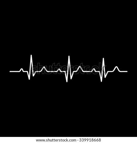 Vector Illustration heart rhythm ekg vector - stock vector