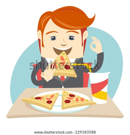 Vector illustration Hipster office man eating pizza at cafe. Flat style - stock vector