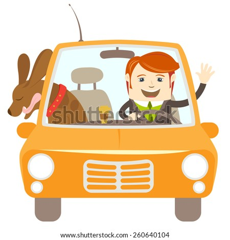 Vector illustration Hipster-traveler driving a car with his dog - stock vector