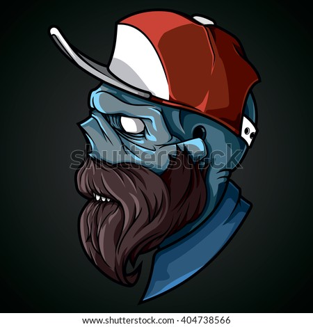 vector illustration hipster zombies in a cap with a beard and mustache zombie vector - Zombie Pictures To Print