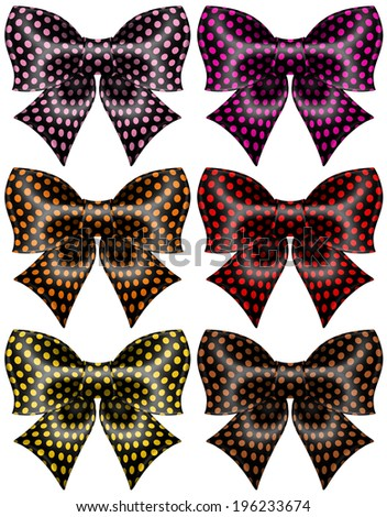 Vector illustration - holiday black polka dot bows. Created with gradient mesh and blending modes. - stock vector