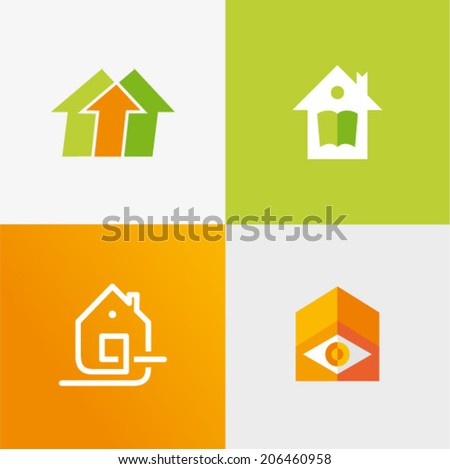 Vector illustration home house icons set - stock vector