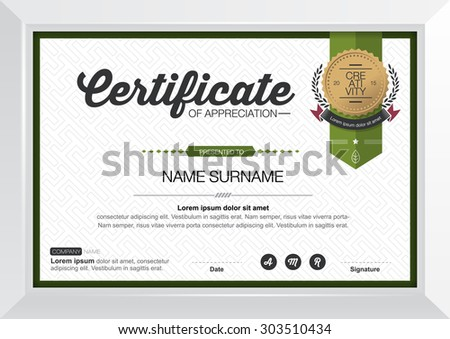 Vector illustration,horizontal certificate with white frame, certificate template with clean and modern pattern - stock vector