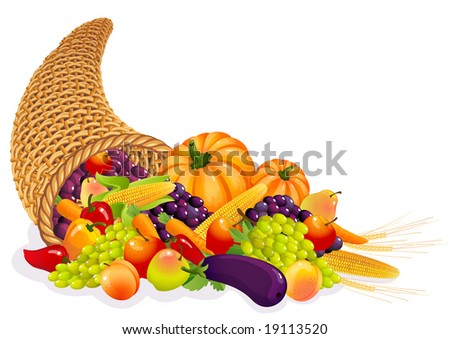 Vector illustration - Horn of Plenty with  vegetables and fruits - stock vector