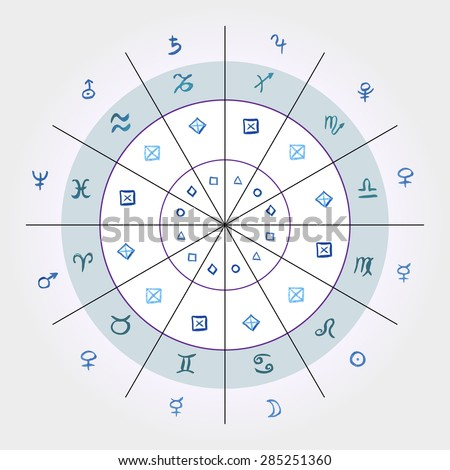 Vector illustration. horoscope. Astrological chart convenience zodiac signs and their rulers, elemental properties. - stock vector