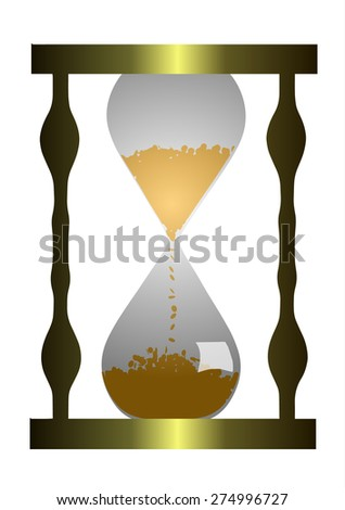 Vector Illustration. Hourglass with coins.