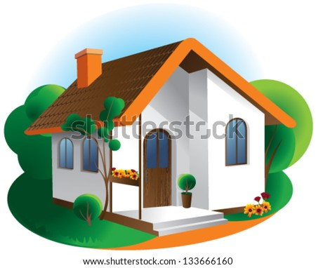 Vector illustration house icon isolated - stock vector
