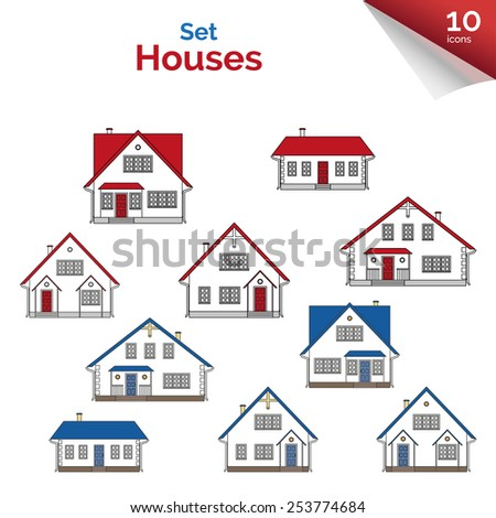 Vector illustration. House projects in white, red, grey and blue colors. Vector houses: cottage and two-storey houses. Real estate. Residential property. Vector set of flat icons of houses. - stock vector