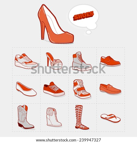 Vector illustration. Icon collection of shoes