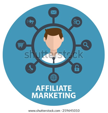 Vector illustration icon of affiliate marketing in circle - stock vector