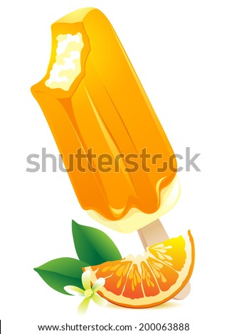 Vector Illustration Icon of Orange Ice-cream with citrus slice. Summer flavor - stock vector