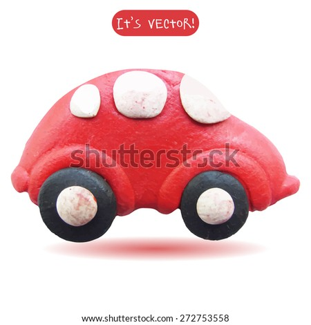 Vector illustration. Icon of plasticine car isolated on white background. Design for your website. - stock vector