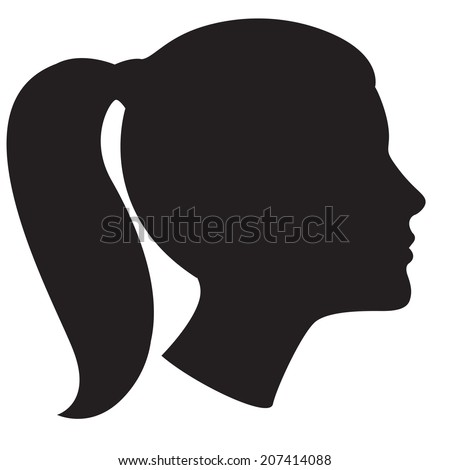 Vector Illustration Icon of Woman head silhouette - stock vector
