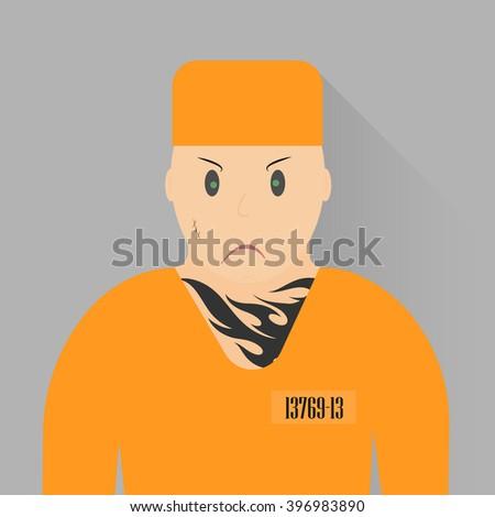 Vector illustration. Icon prisoner. Angry recidivist in orange uniforms. The criminal detention. - stock vector