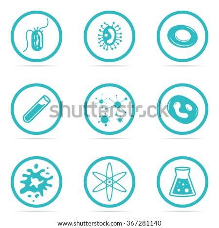 Vector Illustration Icon Set Helpful and Harmful Cells Virus Blood Cells and bacteria - stock vector