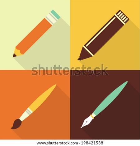 Vector illustration icon set of art: pencil, marker, brush, pen - stock vector