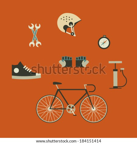 Vector illustration icon set of bicycle: helmet, gloves, pumps, boots, compass, service, bike - stock vector