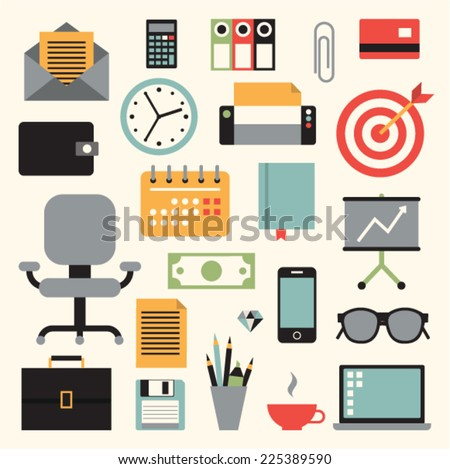 Vector illustration icon set of business: envelope, calculator, document, credit card, wallet, watch, printer, target, chair, calendar, book, chart, briefcase, money, phone, pencil, glasses, computer - stock vector