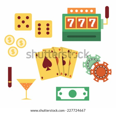 Vector illustration icon set of casino: dice, slot machine, coin, cards, chips, cocktail, cigar, money