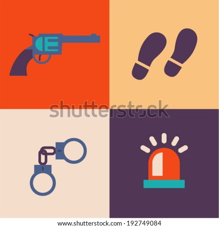 Vector illustration icon set of crime: gun, tracks, handcuffs, signal - stock vector