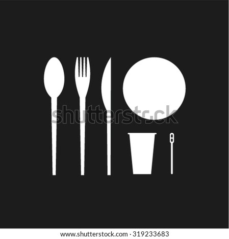Vector illustration icon set of disposable tableware