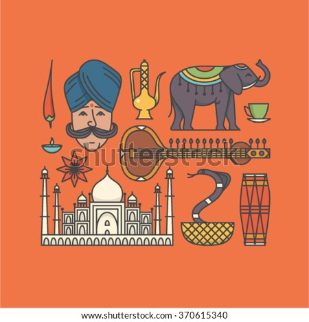 Vector illustration icon set of India - stock vector
