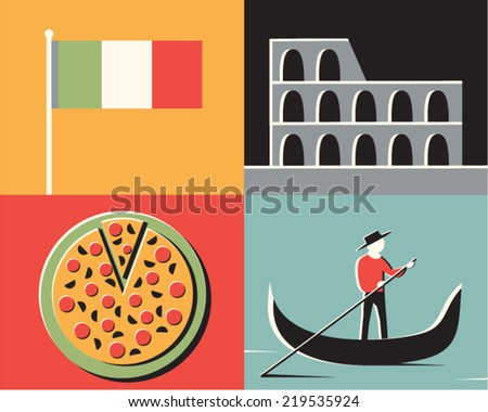 Vector illustration icon set of Italy: flag, Coliseum, pizza, gondolier - stock vector