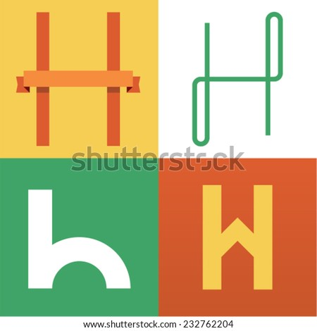 Vector illustration icon set of letter H - stock vector