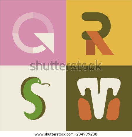 Vector illustration icon set of letter Q, R, S, T [5/7] - stock vector