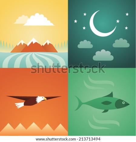 Vector illustration icon set of nature: mountain, crescent, eagle, fish - stock vector