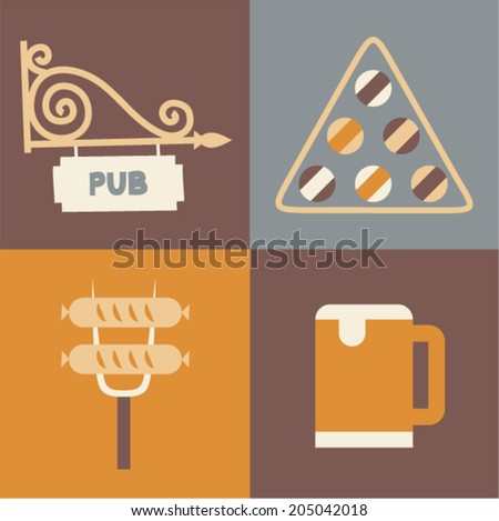 Vector illustration icon set of pub, billiards, sausage, beer - stock vector