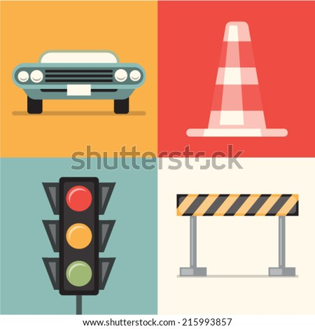 Vector illustration icon set of road: car, cone, traffic lights, repair
