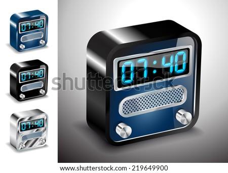 vector illustration icons button alarm time clock - stock vector