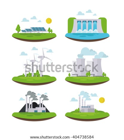vector illustration icons in the types of energy generation. set of icons of renewable alternative energy. Inergen sun, wind, water, resources. set a windmill, solar battery,coal ,nuclear, Hydropower