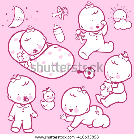Vector Illustration icons of a baby's daily routine: sleeping, playing, walking, drinking milk, crawling. - stock vector