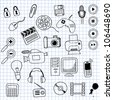 Vector illustration icons on electronics - stock