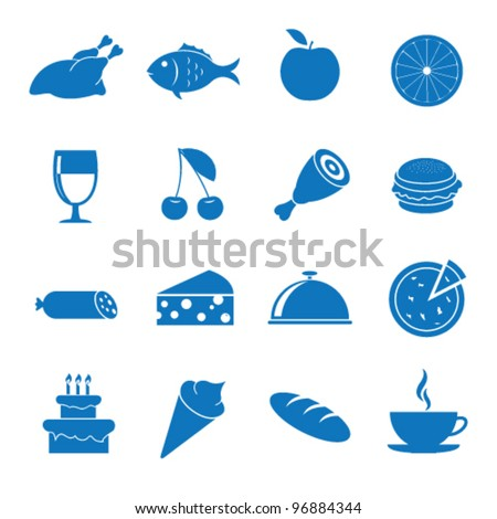 Vector illustration icons on food - stock vector